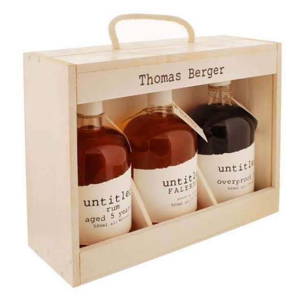 Personalisierbare Rum Geschenk Collection mit 3 Flaschen in einer Holzbox