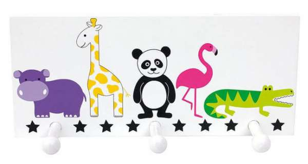 Kindergarderobe Safari mit drei Hacken und fünf Tiersymbolen Nielpferd, Giraffe, Panda, Flamingo, Krokodil