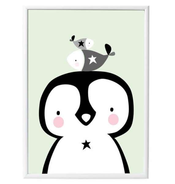 Pinguin Poster im Rahmen 50 cm x 70 cm