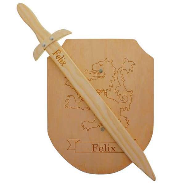 Personalisierbares Holz Schild mit Schwert