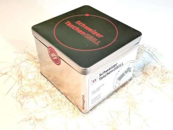 Schweizer Taschengrill verpackt in der Aludose