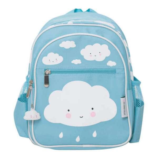 Rucksack in blau mit aufgedruckten weissen Wolken Vorderansicht