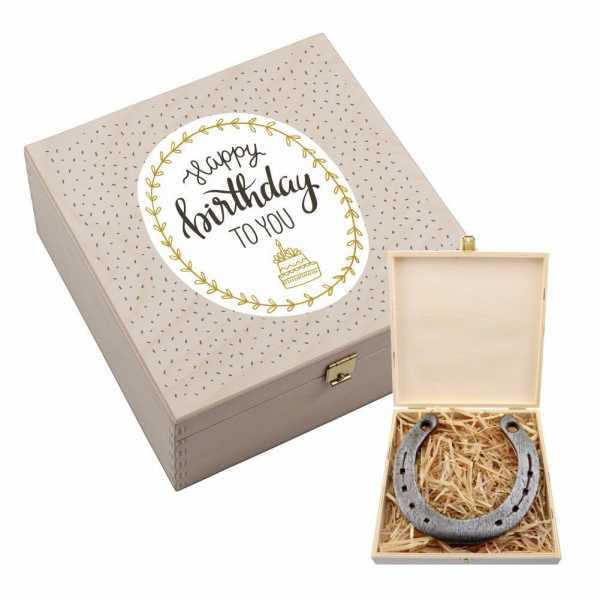 Personalisierbares Hufeisen Happy Birthday to you