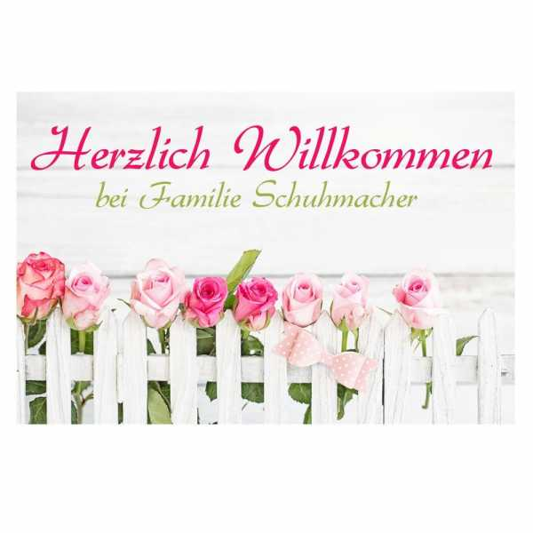 Personalisierte Fussmatte Rosen mit Familiennamen