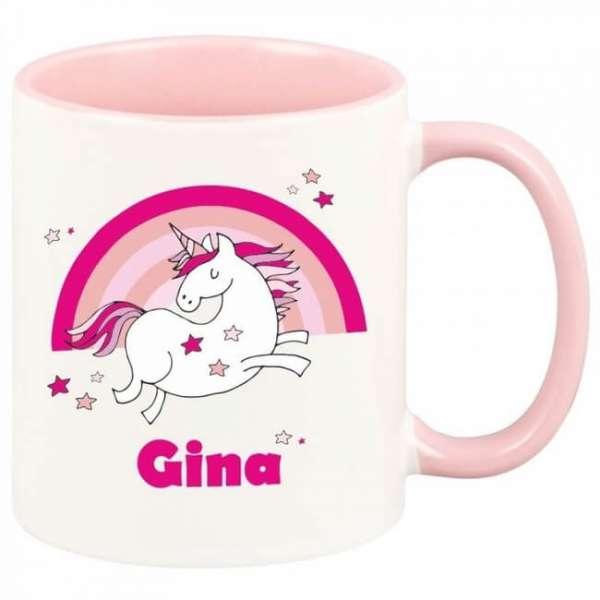 Personalisierbare Tasse rosa Einhorn