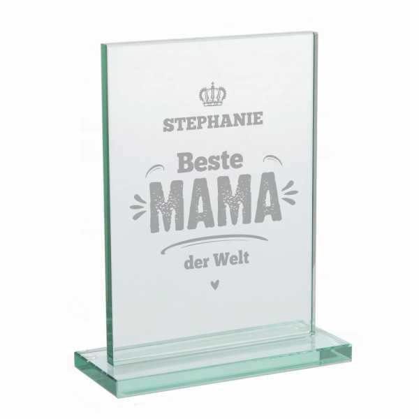 Personalisierter Glaspokal mit Gravur - Beste Mama der Welt