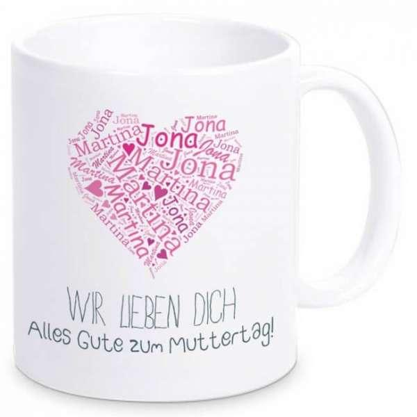 Personalisierbare Tasse Muttertagsherz mit Namen