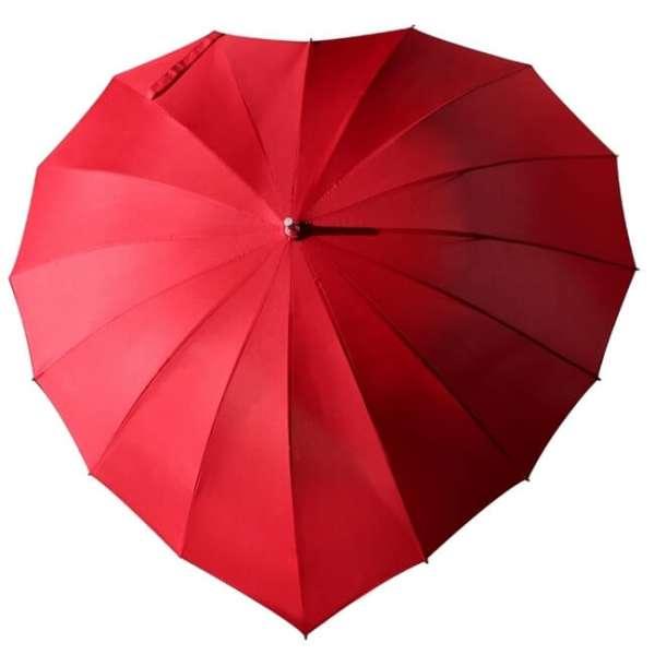 Personalisierbarer Herz Regenschirm in rot - Vorderansicht