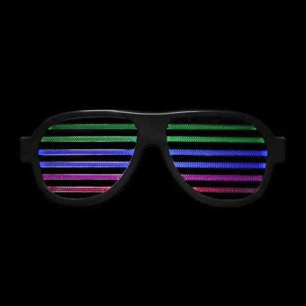 LED Brille mit Geräuschsteuerung in schwarz