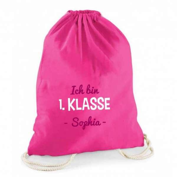 """Personalisierbarer Turnbeutel in pink mit Aufdruck """"ich bin 1.Klasse"""" und Name des Kindes"""