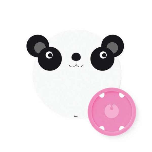 Tischset Panda mit Tischmatte und daneben ein rosa Teller