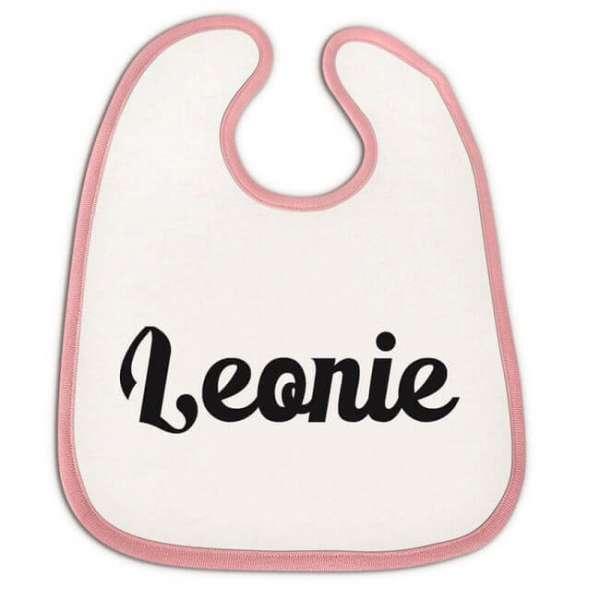 Personalisierbares Babylätzchen mit Namen in rosa
