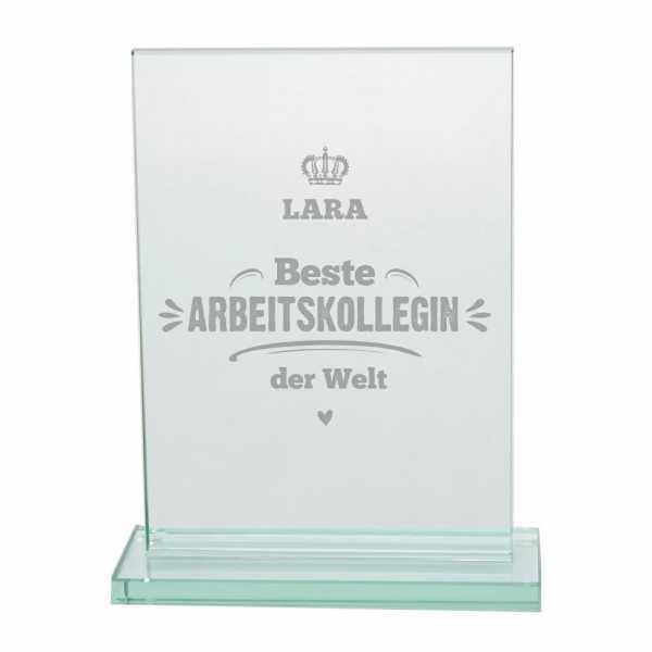 Personalisierter Glaspokal mit Gravur - Beste Arbeitskollegin der Welt
