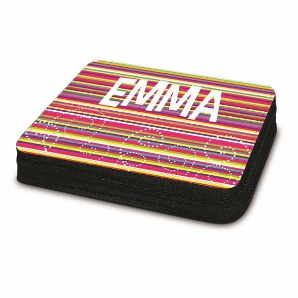 Etui personalisiert mit Streifen und Name