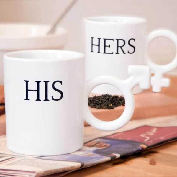 Kaffetassen mit der Aufschrift HIS & HERS aus hochwertiger Keramik