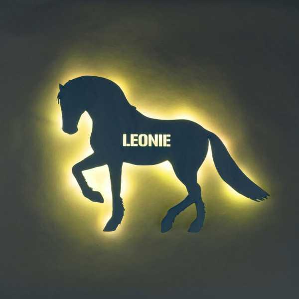Personalisierte Holzlampe Pferd
