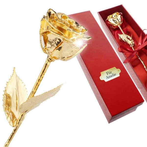 Personalisierbare Rose vergoldet in einer Geschenkbox mit eingravierten Namen