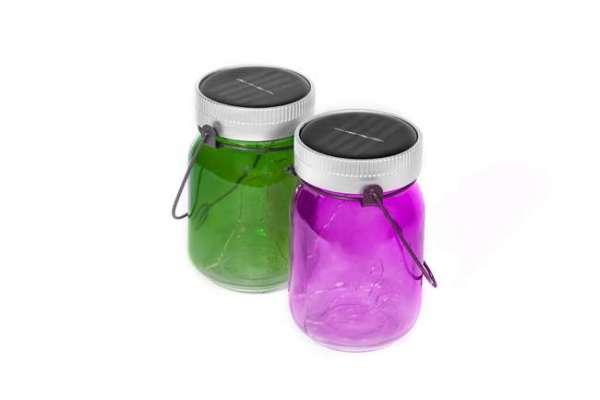 Solarleuchten Stimmungslichter fairy jars in grün und pink