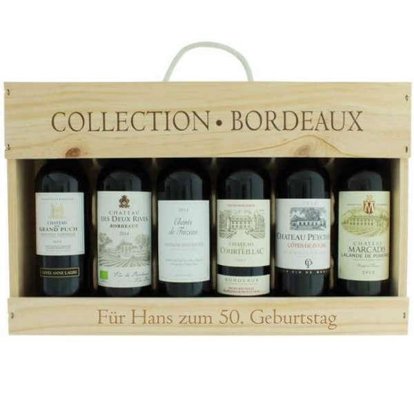 Personalisierbare Bordeaux Geschenk Collection mit 6 Edlen Wein Flaschen