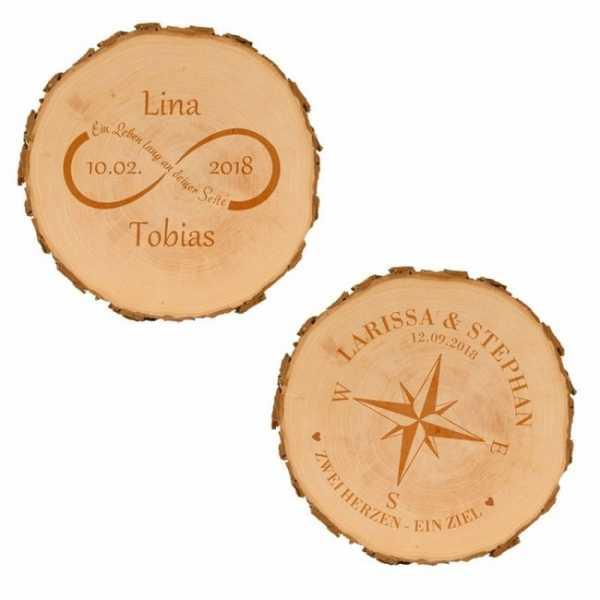 Personalisierbare Baumscheibe für Paare in zwei Designs erhätlich