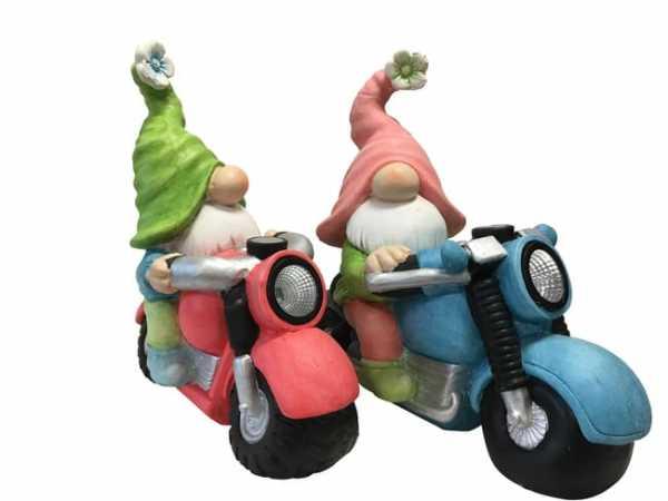 Gartenzwerge auf Motorrad 2er-Set
