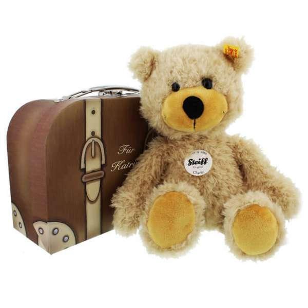 Personalisierbarer Steiff Teddy Charly sitzend mit Koffer