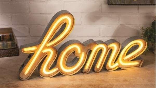 LED Leuchte mit Schriftzug home