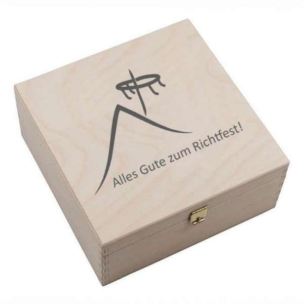 Personalisierbares Hufeisen alles Gute zum Richtfest mit Holzbox