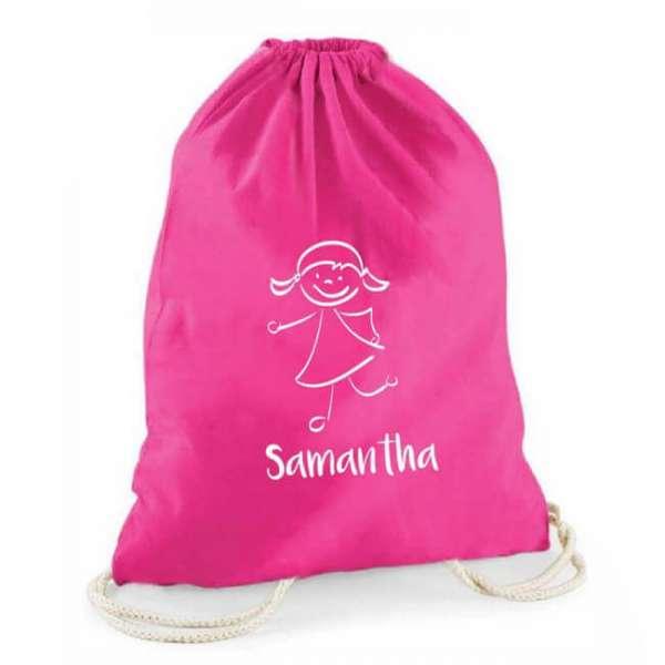 Personalisierbarer Turnbeutel in pink mit Mädchen und Name