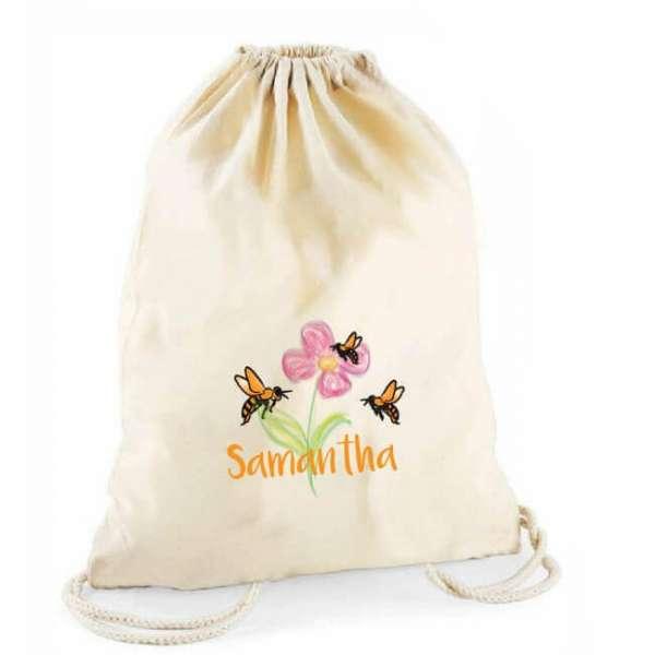 Personalisierbarer Turnbeutel Blume und Bienen mit Namen