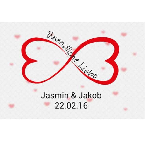 Personalisierbare Fussmatte Unendliche Liebe mit Namen und Datum