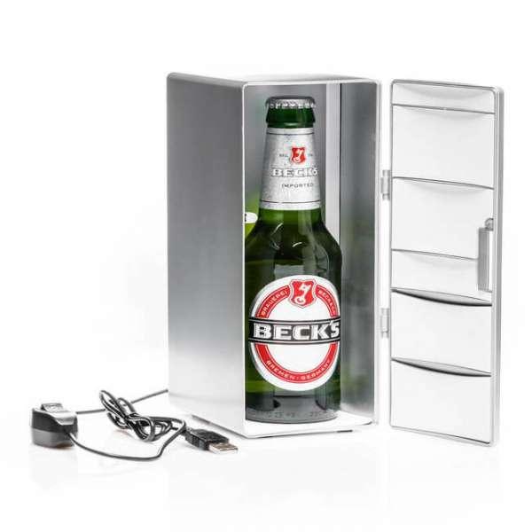 USB Kühlschrank silber mit Bierflasche