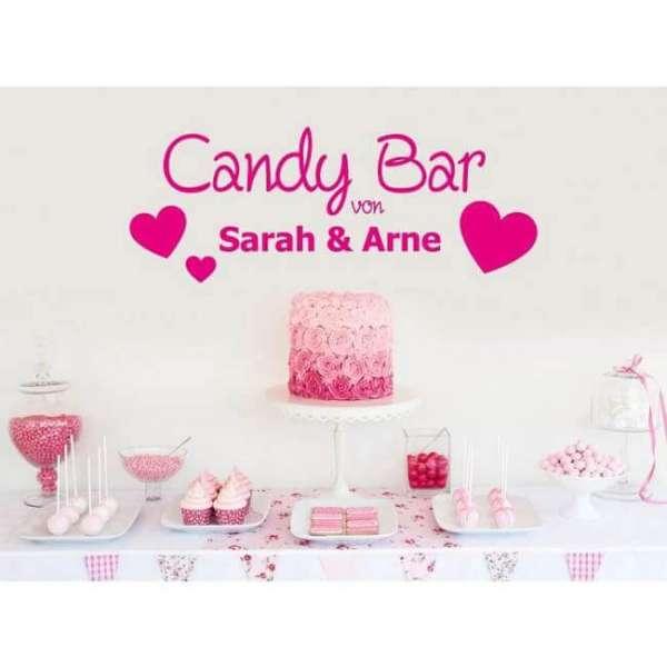 Personalisierbare Wandtattoo Candy Bar mit Name und Herzen in pink