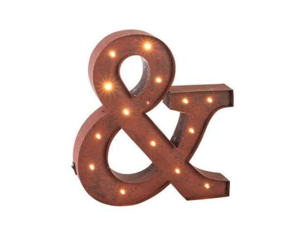 LED Leuchtsymbol als UND Zeichen in Rost Look