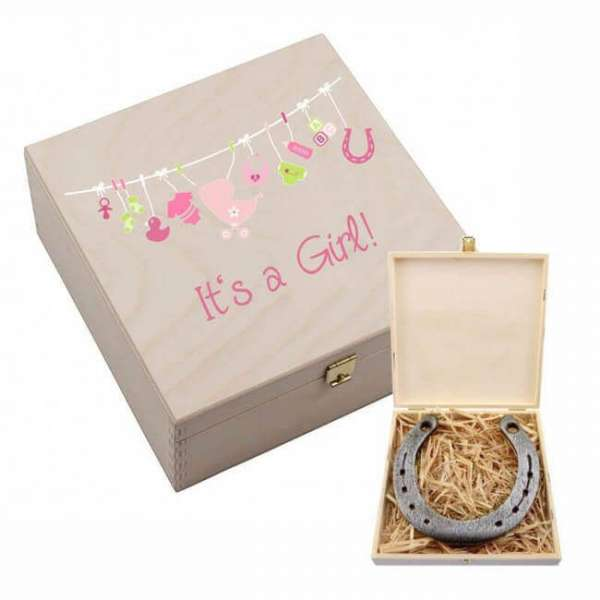 "Personalisierbares Hufeisen ""It's a Girl"" mit Holzbox"