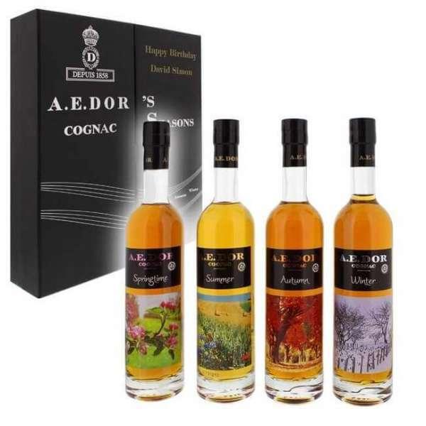 Personalisierbares Cognac Jahreszeiten Set mit 4 Flaschen und Verpackung