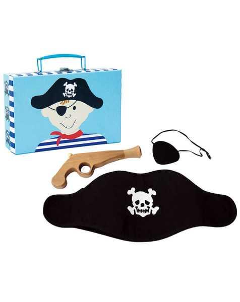 Spielkoffer Pirat - Alles was ein junger Freibeuter braucht! Mit schwarzer Piratenmütze, Augenklappe, und einer  Holzpistole