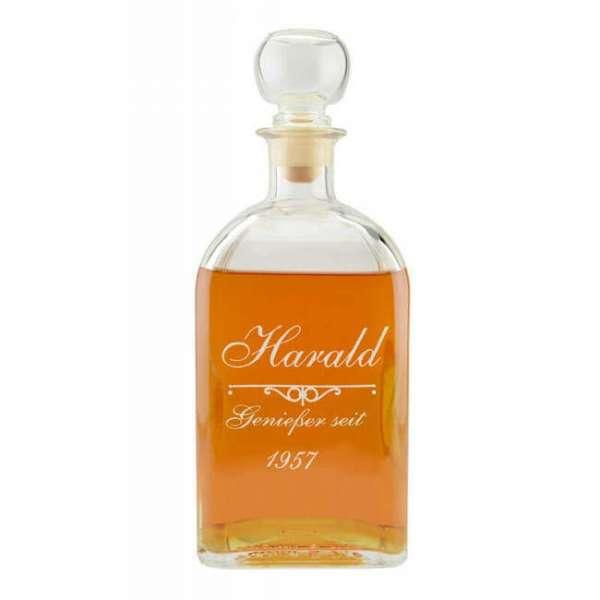 Personalisierbare Whiskykaraffe geniesser-seit mit Gravur Name und Datum