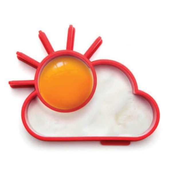 Spiegeleiform Sonne und Wolke in Rot