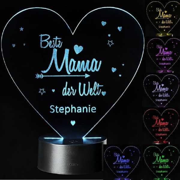 Personalisierte 3D Lampe Beste Mama der Welt