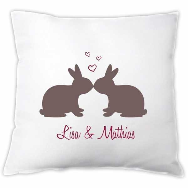 Personalisiertes Kissen Küssende Hasen mit Namen