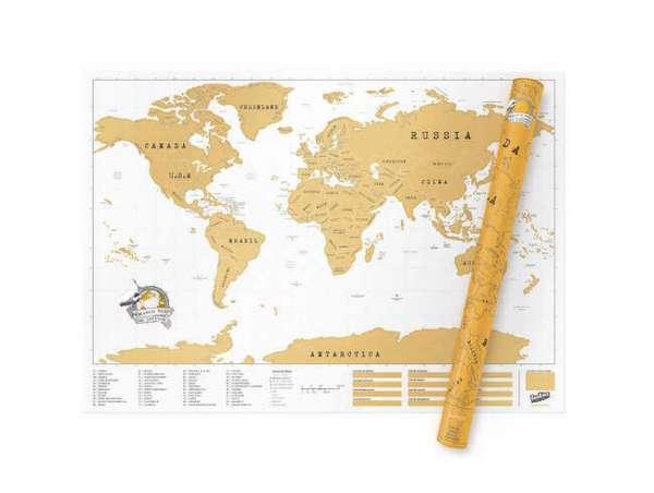 Landkarte zum freirubbeln Motiv die ganze Welt