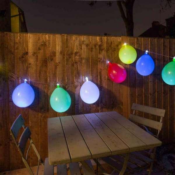 LED Lichterkette Luftballon im Garten