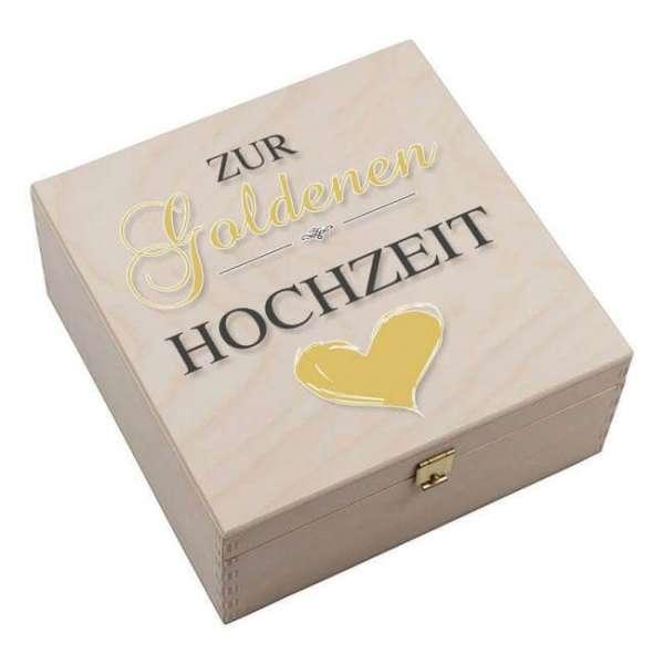 Personalisierbares Hufeisen goldene Hochzeit mit Holzbox