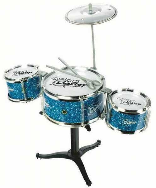 Schlagzeugset für Desktop in Blau - Mit 3 Trommeln einem Becken und zwei Drumsticks