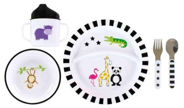Kindergeschirr Set safari mit Tiersymbolen verziert
