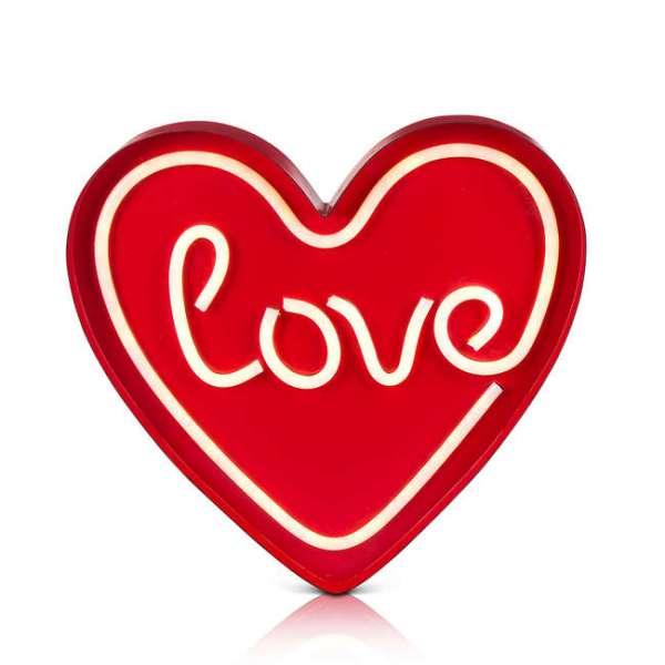 LED Licht Herzform mit Schriftzug love - in rot