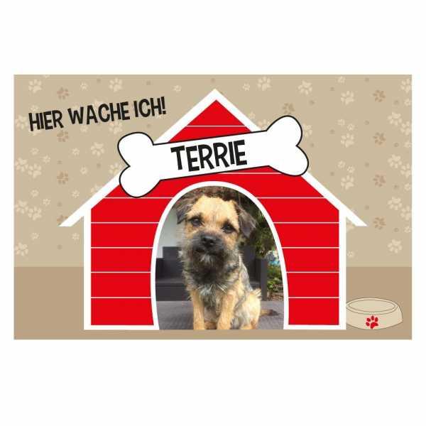 Personalisierte Fussmatte Hundehütte mit Foto