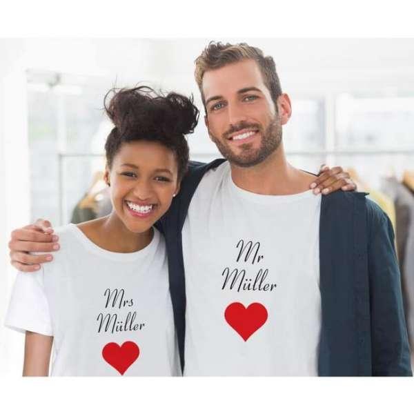 Personalisierbares Partner T-Shirt «Mr. und Mrs.» in weiss