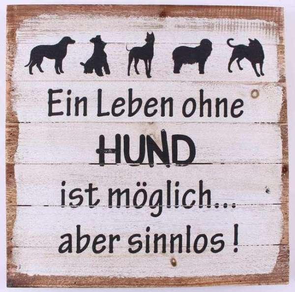 Holzschild Vorderansicht mit Spruch. Ein Leben ohne Hund ist möglich aber sinnlos. Masse 35,5 cm x 35,5 cm